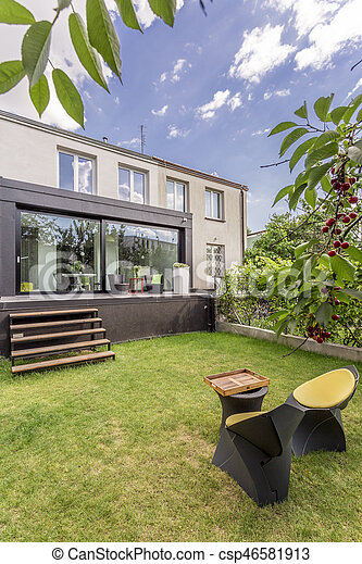 Maison, moderne, jardin, minimaliste. Minimaliste, jardin, maison ...