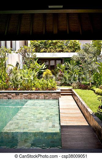 maison, moderne, jardin, piscine, natation