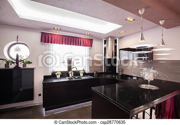 Intérieur, maison, moderne, luxe, cuisine.