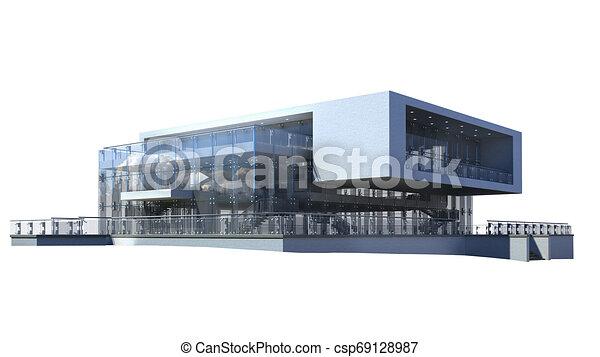 maison, moderne, luxe, illustration, 3d - csp69128987
