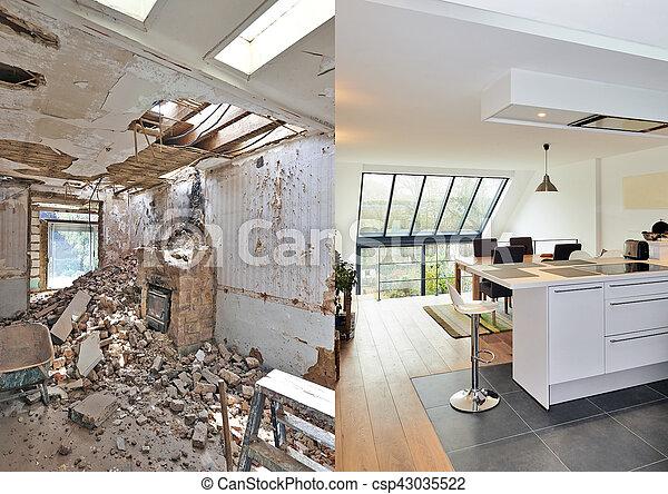 maison, moderne, ouvert, rénové, cuisine