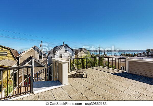 maison, moderne, toit, terrasse, extérieur, tacoma., luxe