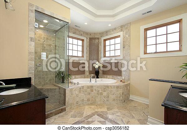 maison, nouveau, construction, maître, bain - csp3056182