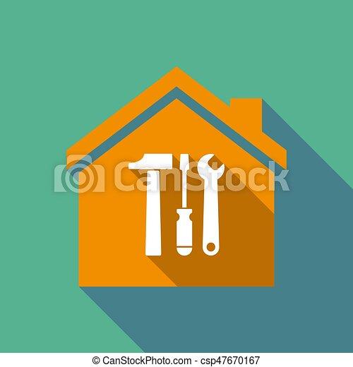 maison, outillage, ensemble, ombre, long - csp47670167