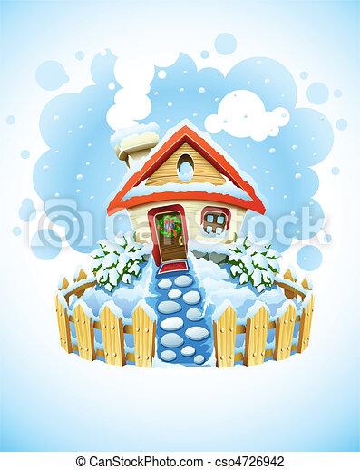 maison, paysage, hiver, noël, neige - csp4726942