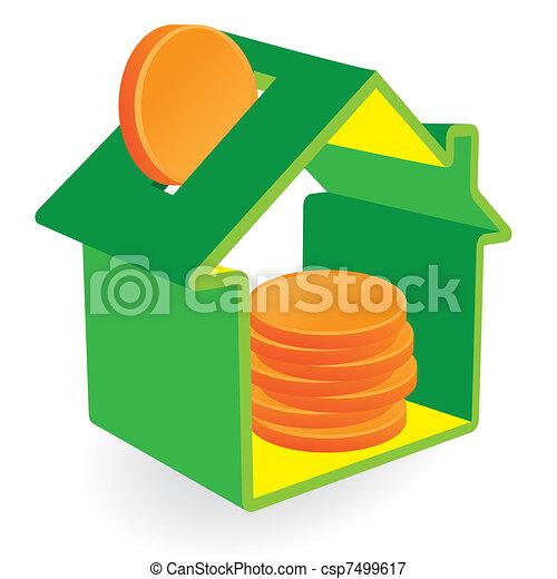 maison, pièces, vert, tirelire - csp7499617