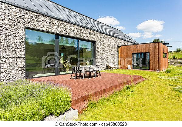 Maison, pierre, moderne, élévation. Pierre, elevation., jardin ...