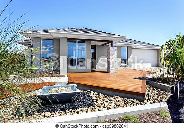 Maison pierre, moderne, arbres, décoration, articles.... photo de ...