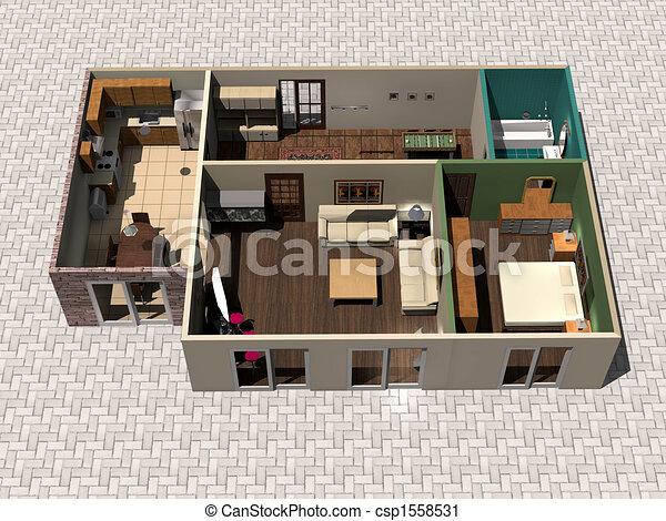 Maison Plan 3d Maison 3d Plan Rendre Canstock