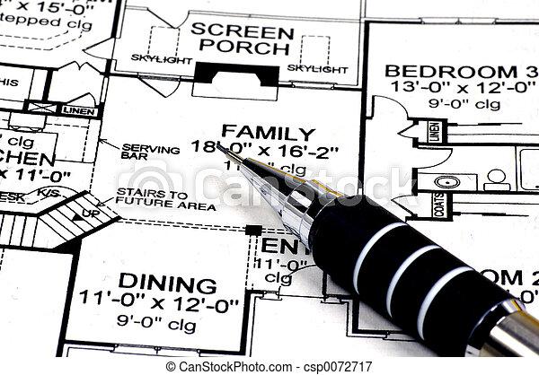maison, plans, crayon - csp0072717