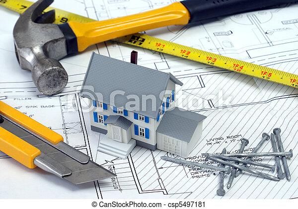 maison, plans, nouveau - csp5497181
