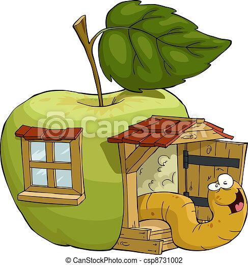Maison pomme illustration vecteur pomme maison ver - Dessin pomme apple ...
