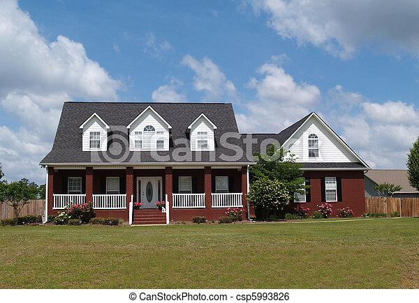 maison, résidentiel, histoire, brique, deux - csp5993826