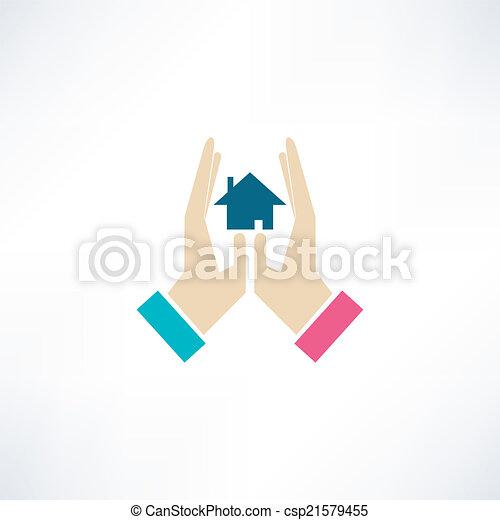 maison, sûr, icône - csp21579455