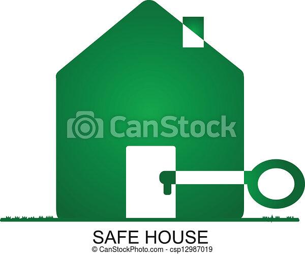 maison, sûr, -, logo - csp12987019