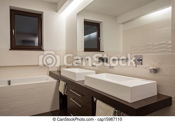Maison, salle bains, -, travertin, élégant. Salle bains, travertin ...