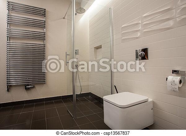 maison, salle bains, -, travertin