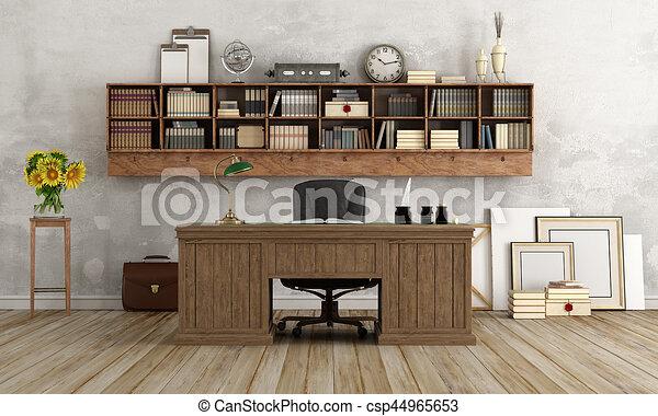 maison, style, bureau, classique