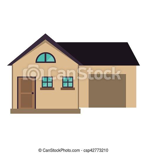 Maison, style, moderne, dessin animé, garage. 10, style, maison ...