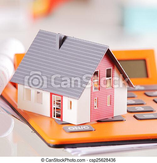maison, surmontez, miniature, fin, calculatrice - csp25628436