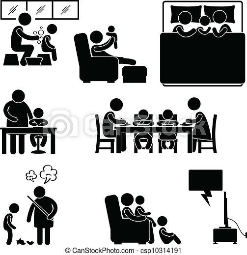 Maison symbole activit famille maison activit s ensemble famille pictogramme house - Activite a la maison ...