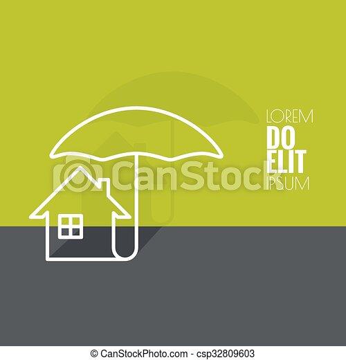 maison, symbole, protection, sous - csp32809603