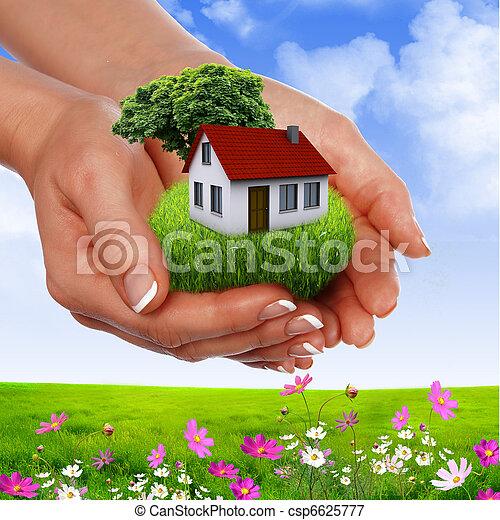 maison, tenant mains - csp6625777