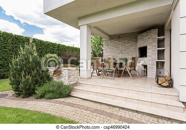 Maison Terrasse Maison Moderne Confortable Jardin Terrasse