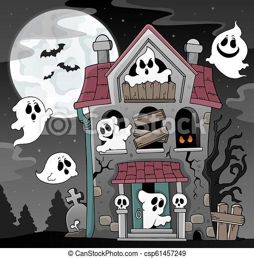 maison, thème, hanté, 4, fantômes - csp61457249