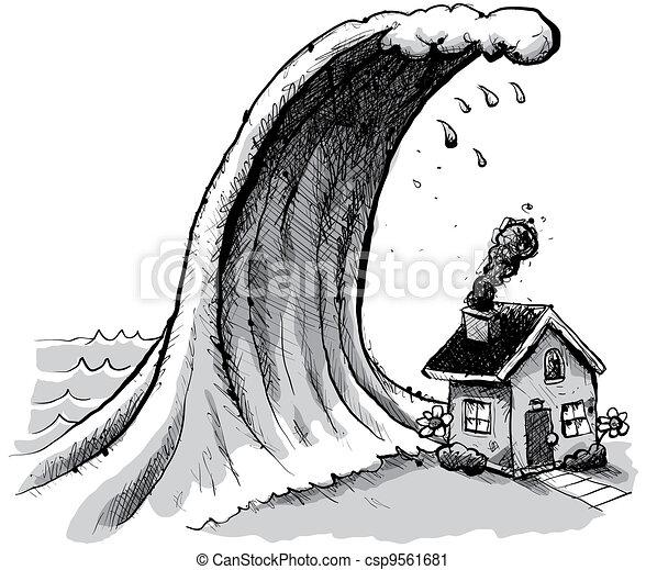 Maison, tsunami. Sur, house., géant, vague, marais, dessin ...