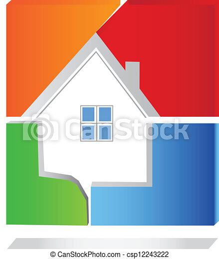 maison, vecteur, carrée, logo - csp12243222
