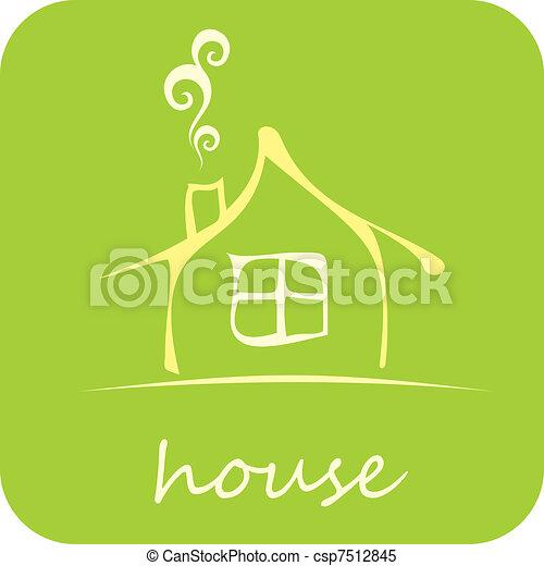 maison, vecteur, -, icône - csp7512845