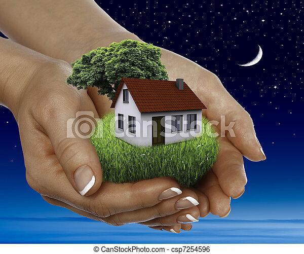 maison, vente, étoiles, entiers, nuit - csp7254596