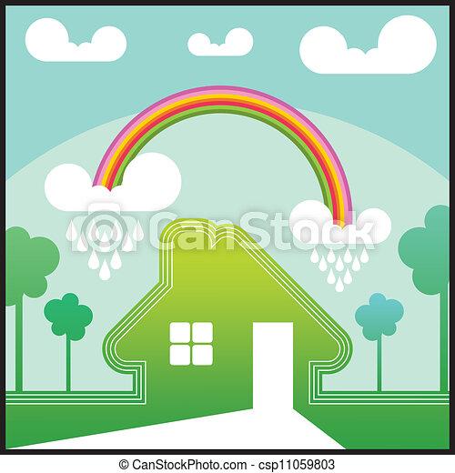 maison vert arc en ciel dessin anim illustration. Black Bedroom Furniture Sets. Home Design Ideas