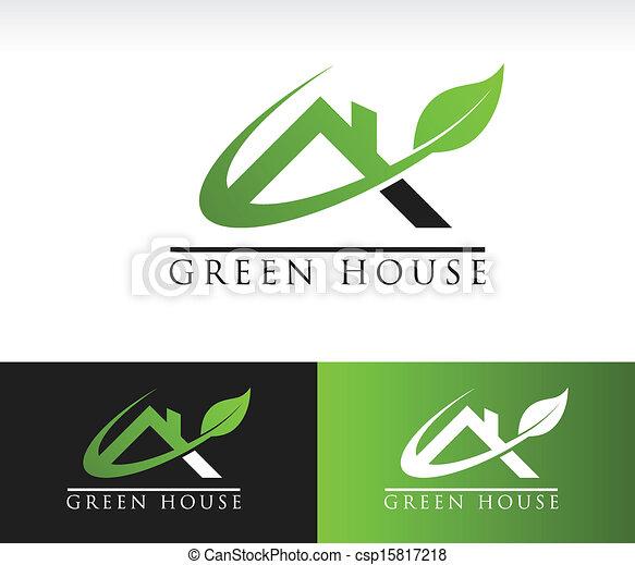 maison, vert, toit, icône - csp15817218