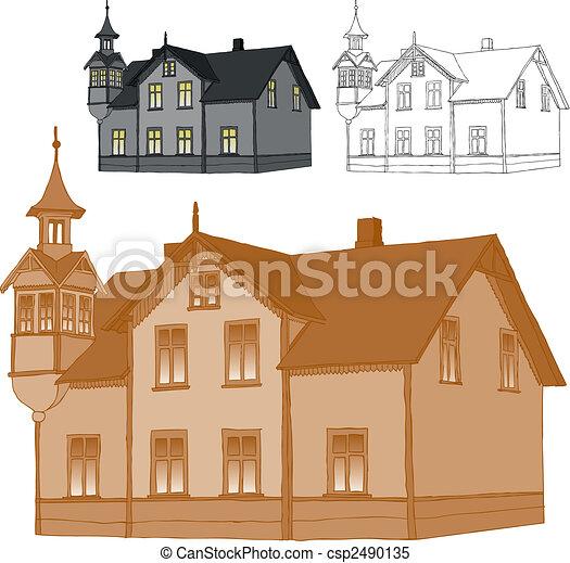 maison, vieux, famille - csp2490135