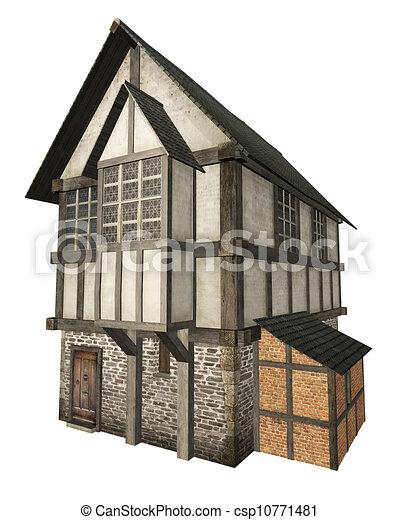 Maison Ville Moyen Age Isole Illustration De Stock