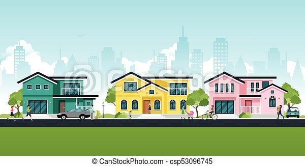 maison, ville - csp53096745