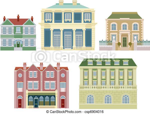 maisons, bâtiments, vieux, luxe, façonné - csp6904016