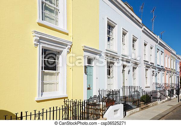 maisons, coloré, façades, anglaise