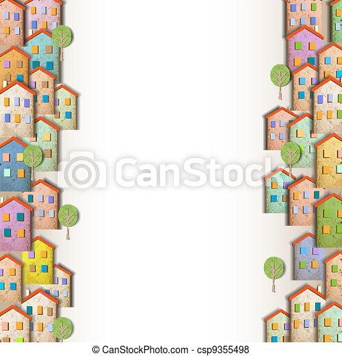 maisons, coloré, frontières - csp9355498