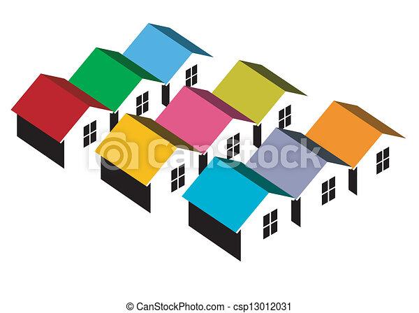 maisons, coloré - csp13012031