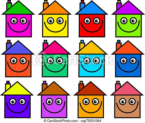 maisons, communauté, heureux - csp75001064