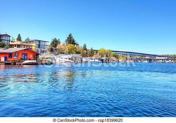 maisons, lac, bateau, washington. - csp18399620