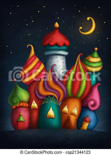 Maisons, oriental, coloré, nuit.