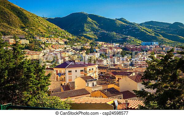 maisons, sicile, contemporain, cefalu - csp24598577