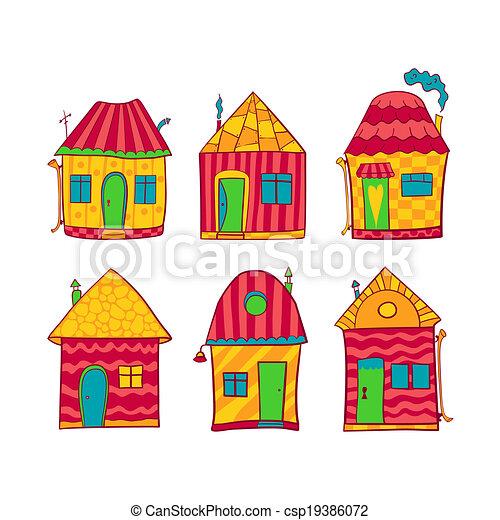 Maisons style ensemble dessin anim color mignon style ensemble color maisons dessin - Image maison dessin ...