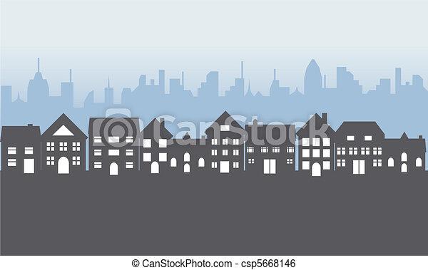 maisons, suburbain, nuit - csp5668146