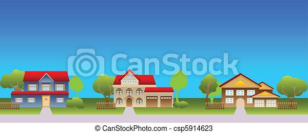 maisons, suburbain, voisinage - csp5914623