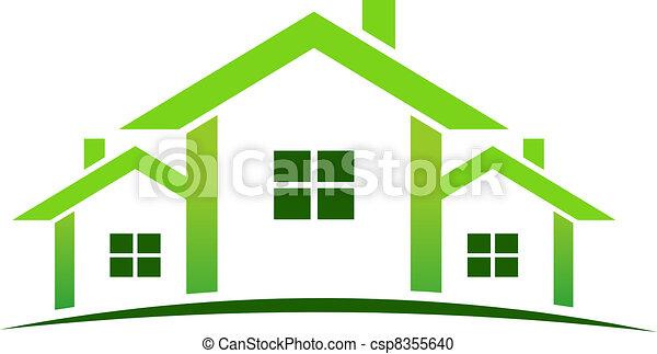 maisons, vert, logo - csp8355640